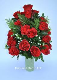 amazon com red roses cemetery flowers cemetery arrangement