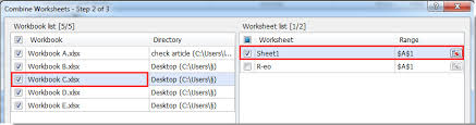 quickly combine multiple worksheets ranges from workbooks into