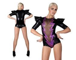Ziggy Stardust Halloween Costume Lightning Bolt Catsuit Glam Rock Stage Wear Ziggy Stardust