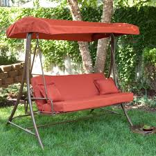 furniture red patio swing also with red canopy over outdoor