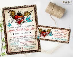 rockabilly baby shower invitation winged tattoo heart cheetah