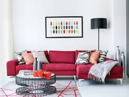 red sofa for a special living room archiki