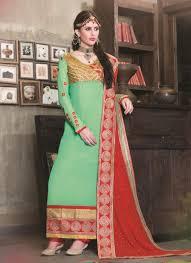 delightful pista green colour and georgette designer salwar suit
