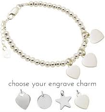 engraved charms silver bracelet balls with three engraving charms kaya