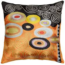 Klimt Orange Black Swirls Decorative Pillow Cover Silk Hand