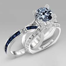 blue diamond wedding rings navy blue diamond special design two in one wedding ring set