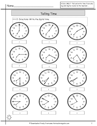 Free Second Grade Writing Worksheets Math Clock Worksheets To 1 Minute Free Time Telling The Min 2