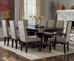 casual dining room with rectangular dark wood dining room table