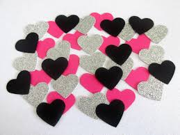 Bachelorette Party Decorations 225 Pink Black Silver Heart Confetti Bachelorette Confetti