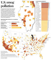 Chicago Tribune Crime Map by Graphic Smog Levels By U S County Chicagotribune Com Feb 9