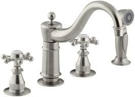 Antique Kitchen Sink Faucets Kohler Antique Three Hole Kitchen Sink Faucet With 8 5 8