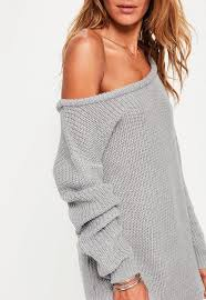knitted sweater gray shoulder knitted sweater dress missguided