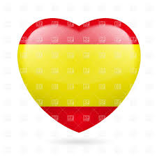 Spainish Flag Heart With Spanish Flag Colors I Love Spain Royalty Free Vector