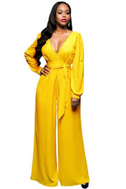 palazzo jumpsuit womens v neck sleeve lace up palazzo jumpsuit yellow pink