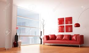 red and white minimalist living room rendering stock photo