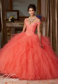 coral quince dress tulle quinceañera ballgown with ruffled skirt featuring the