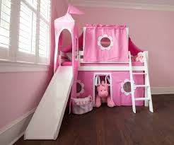Loft Beds For Kids With Slide Jackpot Low Loft Bed With Top Tent Tower Slide U0026 Curtains White