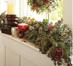 Live Decorated Christmas Wreaths by Live Holiday Eucalyptus U0026 Berry Garland Pottery Barn