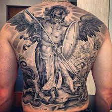awesome black and grey 3d archangel michael tattoo on man full back