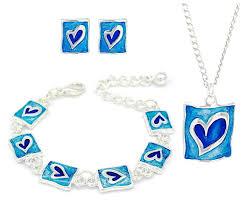 necklace gift sets images Kids children blue enamel heart shaped stud earrings bracelets jpg