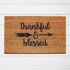 thankful and blessed welcome mat door mat outdoor rug coir