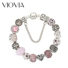 beads charm bracelet images Pink crystal beaded charm bracelet jpeg