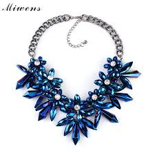 big crystal statement necklace images New design blue gems flower big crystal luxury accessories jpg