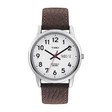 Mens Bench Watch Men U0027s Timex Easy Reader Watch With Leather Strap Silver Brown