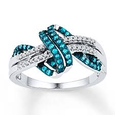 silver diamonds rings images Blue white diamond ring 1 4 ct tw round cut sterling silver jpg