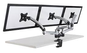 ergotron lx desk mount lcd arm tall pole 3 triple monitor desk mount spring arm silver dm gst13 throughout