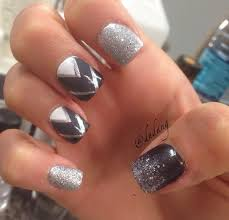 cute nails black and gray ombré tribal print pattern nail design