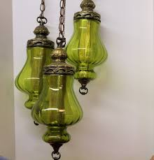 vintage 3 triple globe swag light lamp moss green 150 00 via