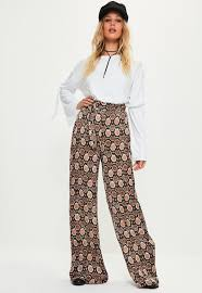 wide tie brown snake print tie waist wide leg trousers missguided ireland