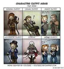 Funny Character Memes - character outfit meme bron by isriana on deviantart
