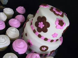 baby shower topsy turvy fondant pink and brown polka dot the