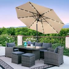 11 Ft Offset Patio Umbrella Led Patio Umbrella Hton Bay 11 Ft Offset Solar Powered