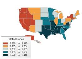 map us gas prices color coded us map shows regional impacts on gas prices aaa