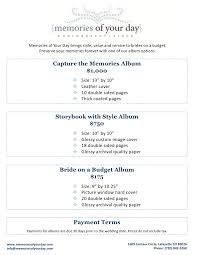 wedding album pricing memories of your day