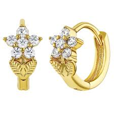 kids earrings 18k gold plated flower hoop earrings kids 0 31 in