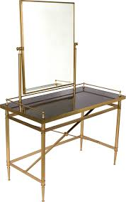 black glass top vanity table with brass frame and built in with