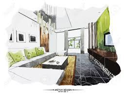 45570326 vector interior sketch design watercolor sketching idea