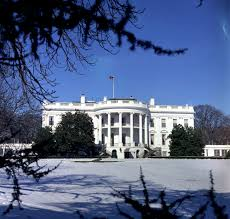 white house exterior south front in snow john f kennedy