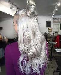 silver blonde haircolor she s a silver fox silky top knot via josievilay hair