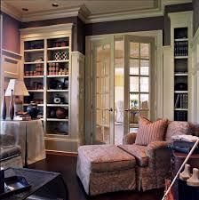 feminine office home office victorian with built in bookshelves