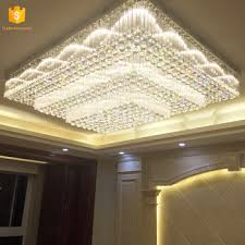 Square Chandelier Big Size Square Modern K9 Led Chandeliers Hotel Lobby