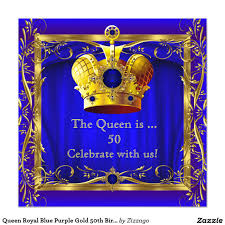 50th Birthday Invitation Card Queen Royal Blue Purple Gold 50th Birthday Party 5 25x5 25 Square