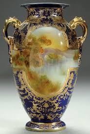 Chinese Hand Painted Porcelain Vases A Nippon Mount Fuji Cobalt Decorated Porcelain Vase Circa 1900
