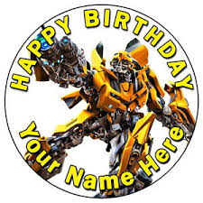 transformers bumblebee and optimus party cake topper transformers bumblebee party 7 5 personalised edible
