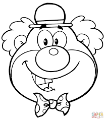 funny clown head coloring free printable coloring pages