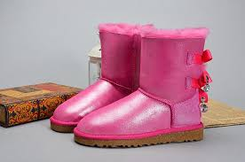 womens pink ugg boots with bows sequin glitter ugg bows shoes fur lining winter